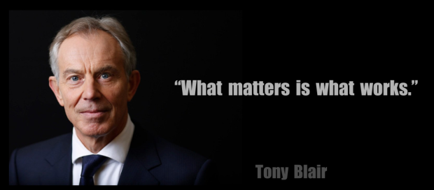 Image of Tony Blair set on a dark background